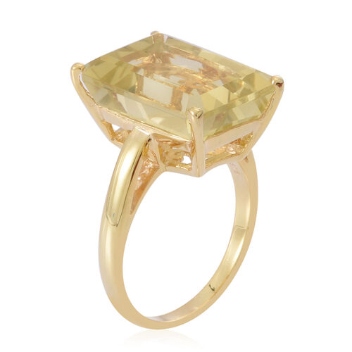 Lemon Quartz (Oct) Ring in 14K Gold Overlay Sterling Silver 14.000 Ct.
