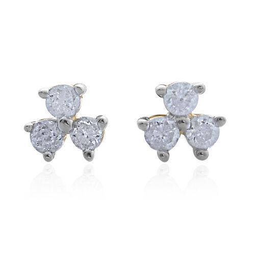 9K Yellow Gold SGL Cerified Trilogy Diamond Stud Earrings with Push Back (I3/G-H)