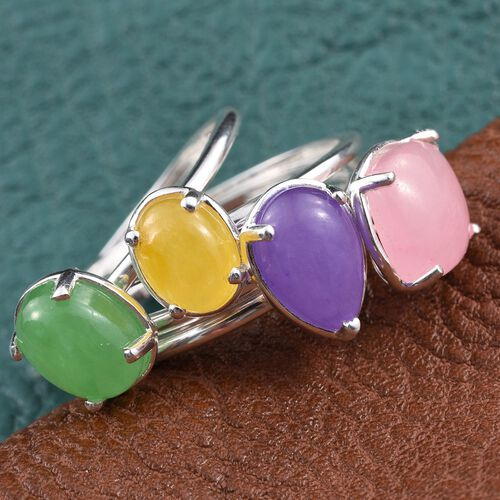 Set of 4 - Pink, Purple, Green and Yellow Jade Ring in Sterling Silver 10.000 Ct.