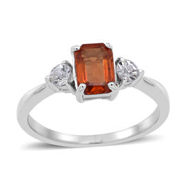 Orange Sapphire (Oct 1.00 Ct), Natural Cambodian Zircon Ring in Sterling Silver 1.250 Ct.