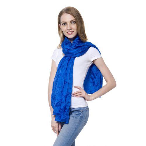 100% Mulberry Silk Pantone Lapis Blue Colour Scarf (Size 180x110 Cm)