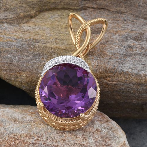 Lavender Alexite (Rnd) Pendant in 14K Gold Overlay Sterling Silver 19.750 Ct.