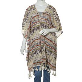 Geometrical Print Grey, Cream and Multi Colour Kimono with Tassels (Size 95x88 Cm)