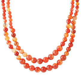 Red Agate (Rnd) Double Strand Beaded Necklace (Size 18 with 2 inch Extender) in Silver Bond 370.000 Ct.