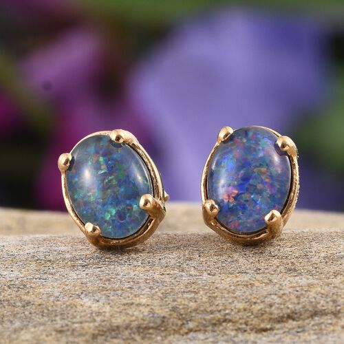 Australian Boulder Opal (Ovl) Stud Earrings (with Push Back) in 14K Gold Overlay Sterling Silver 1.750 Ct.