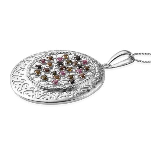 Rainbow Tourmaline (Rnd) Pendant With Chain in Platinum Overlay Sterling Silver 1.750 Ct.