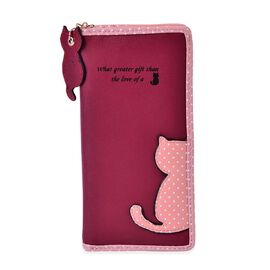 Cat Charm Burgundy and Pink Colour Wallet (Size 19x9x3 Cm)