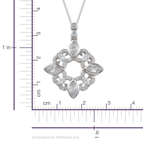 J Francis - Platinum Overlay Sterling Silver (Mrq) Pendant With Chain Made With SWAROVSKI ZIRCONIA