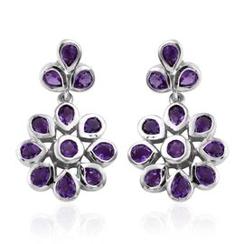 Natural Uruguay Amethyst (Pear) Earrings (with Push Back) in Platinum Overlay Sterling Silver 3.250 Ct.