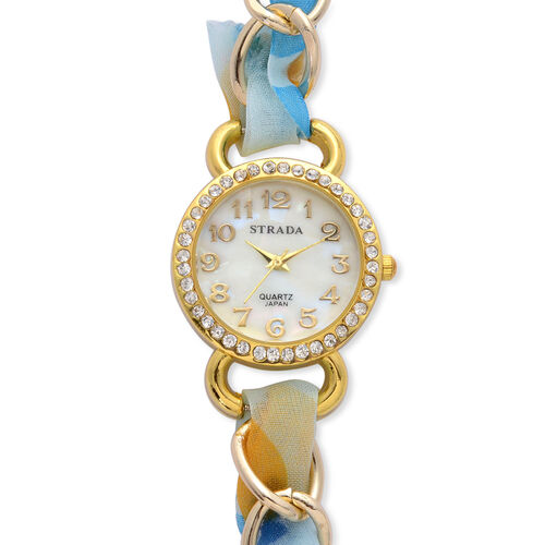 STRADA Japanese Movement MOP Dial White Austrian Crystal Watch in Gold Tone with Blue Strap