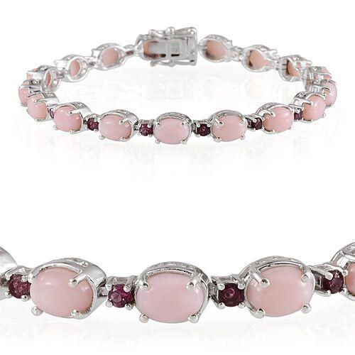 Peruvian Pink Opal (Ovl), Rhodolite Garnet Bracelet (Size 7.5) in Platinum Overlay Sterling Silver 13.750 Ct.