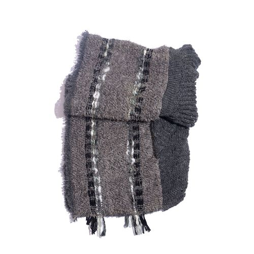 Purple, Taupe and Grey Colour Winter Scarf with Fringes (Size 175x90 Cm)