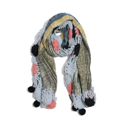 Blue, Grey, Pink and Multi Colour Winter Scarf with Fringes (Size 175x45 Cm)