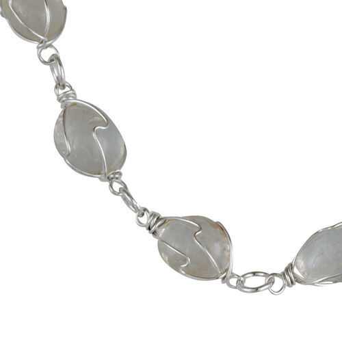 White Austrian Crystal and Multi Gem Stone Necklace (Size 18 with Extender) in Silver Tone