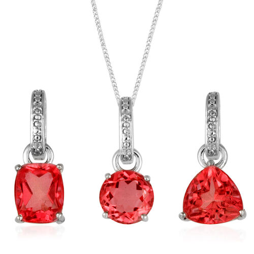 Padparadscha Colour Quartz (Cush) 3 Pendant with One Chain in Platinum Overlay Sterling Silver 12.750 Ct.