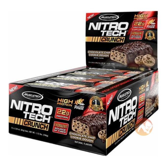 Nitrotech Crunch Bar 12 Bars Chocolate Chip Cookie Dough