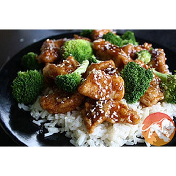 Oriental garlic chicken with garlic broccoli meal
