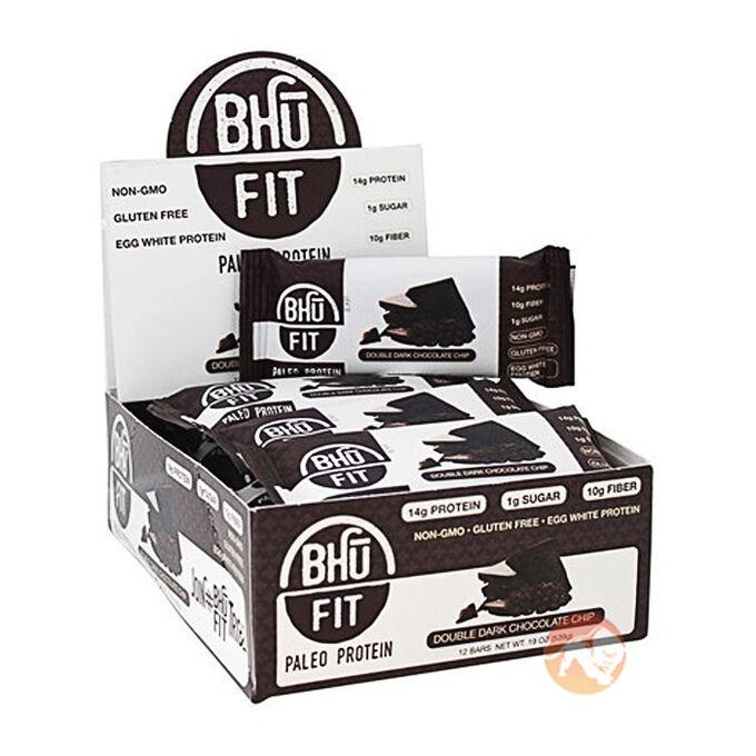 Bhu Fit Paleo Protein Bar 12 Bars Double Dark Chocolate Chunk