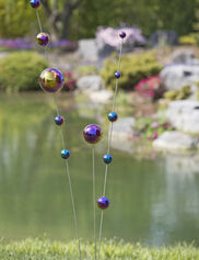Gazing Ball Stakes Blue & Purple, Set of 3