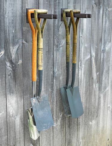 garden tool rack steel rack for shovels hoes. Black Bedroom Furniture Sets. Home Design Ideas