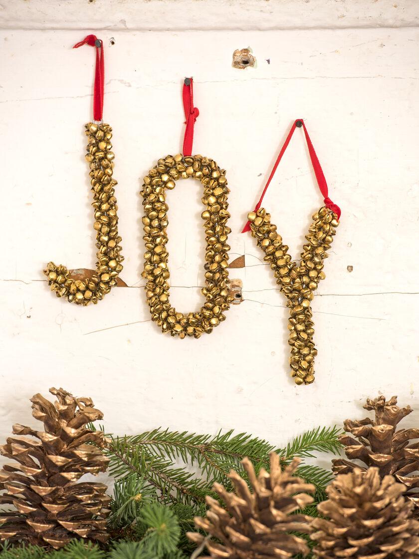 decorative letters metal jingle bell letters joy ornament With decorative letter ornaments