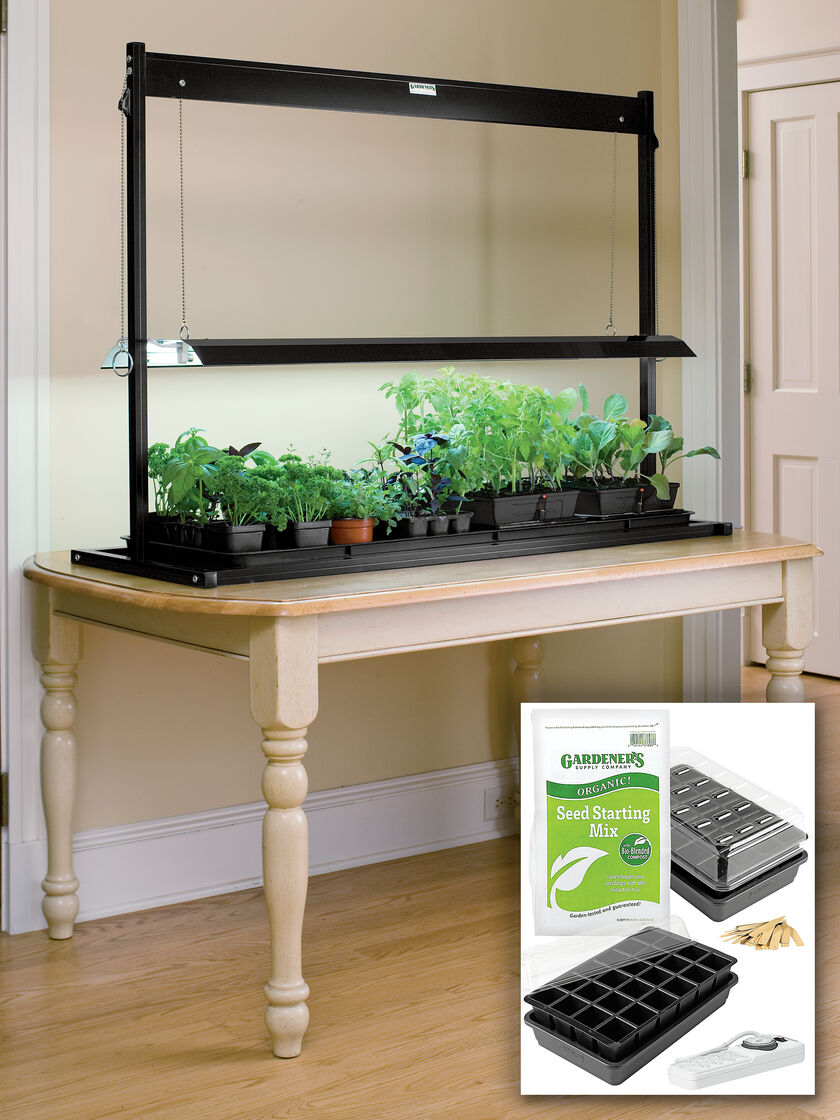 T5 Fluorescent Grow Lights And Tabletop Garden Starter Kit