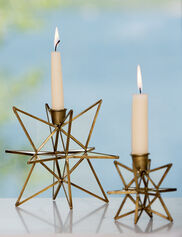 Bronze Moravian Star Taper Holders, Set of 2