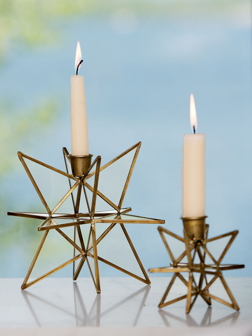 Bronze Moravian Star Candle Holders, Set Of 2 In Choice Of