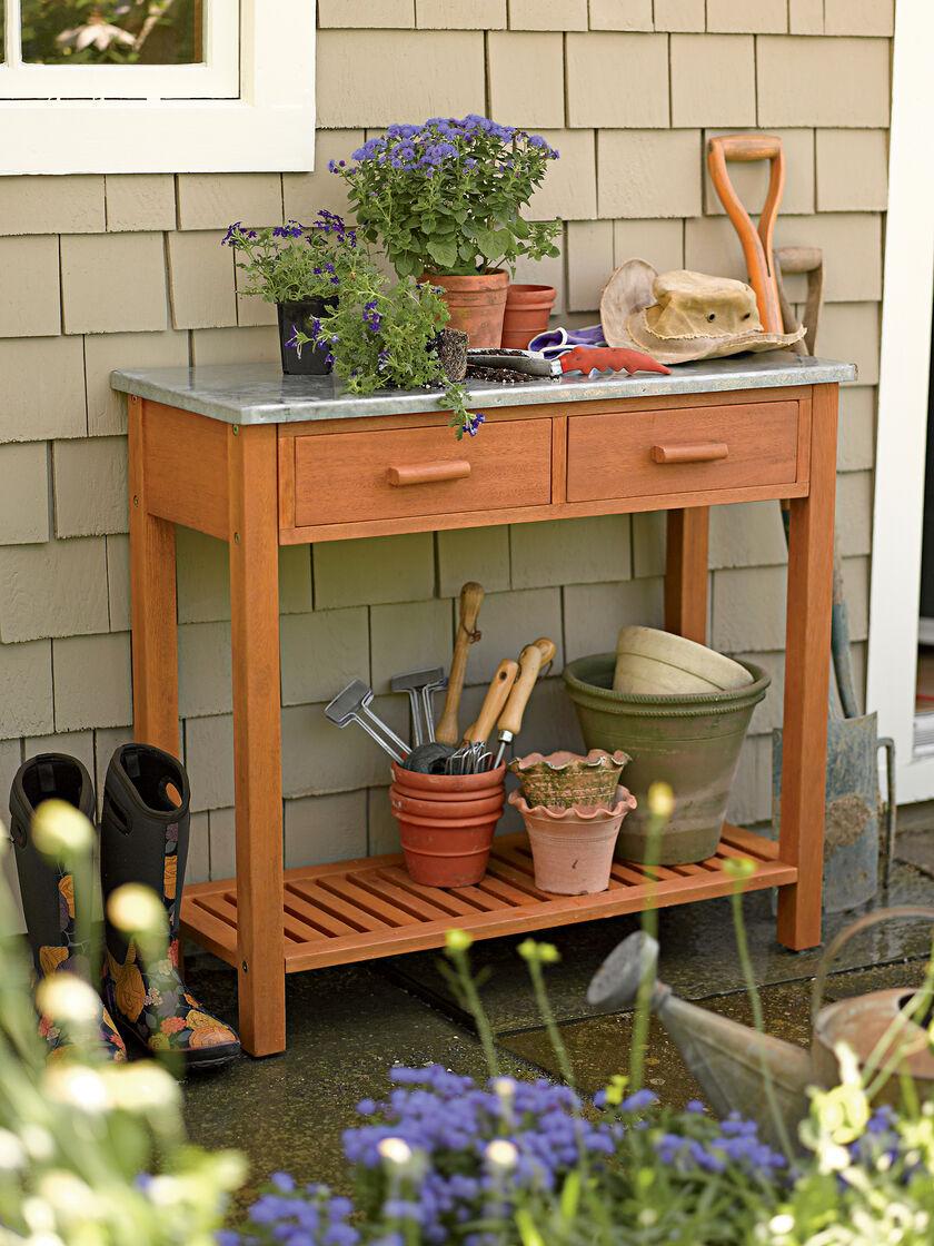 Potting Bench Hardwood With Zinc Top Gardener S Supply