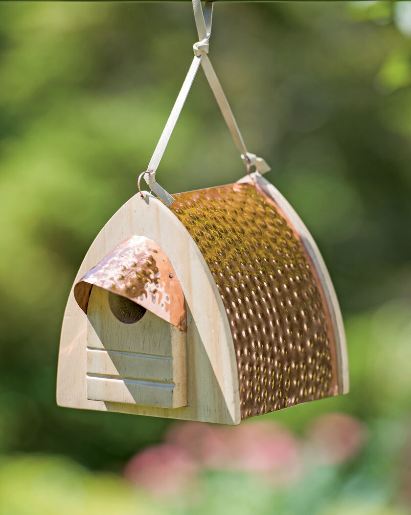 Hammered Copper Birdhouse Copper Roof Birdhouse