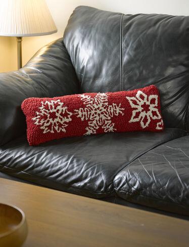 Lumbar Pillow Red Snowflake Design In Hand Hooked Wool