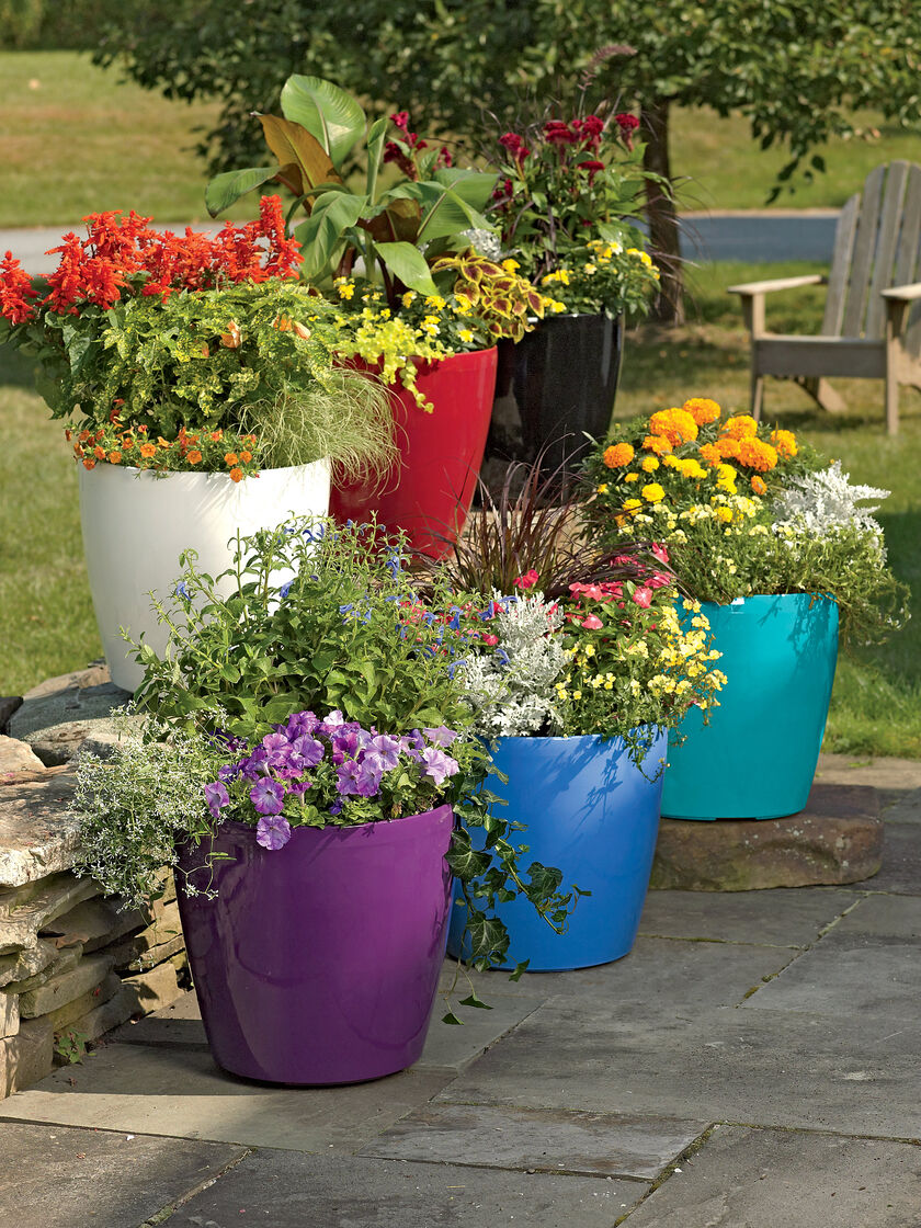Large flower pots plastic rolling viva self watering for Colorful hanging planters