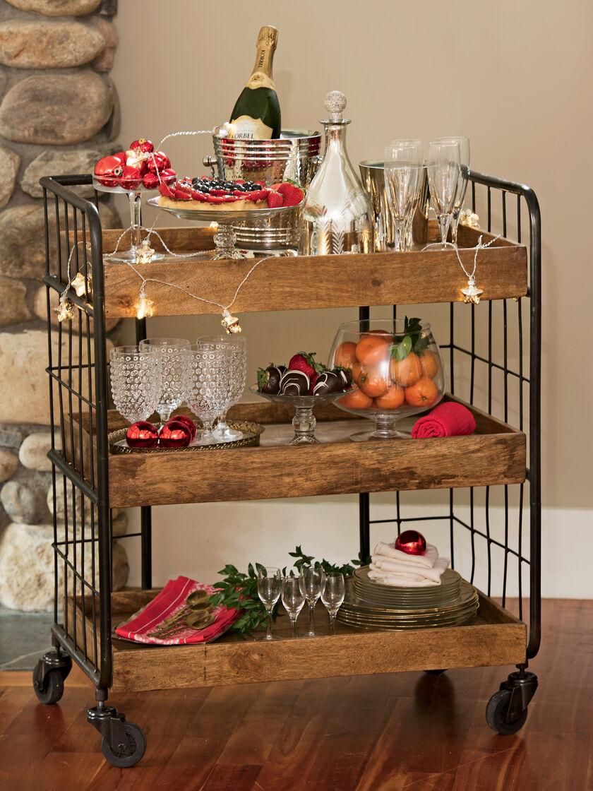 Rustic Shelves Astoria Wood Rolling Shelf Unit Medium