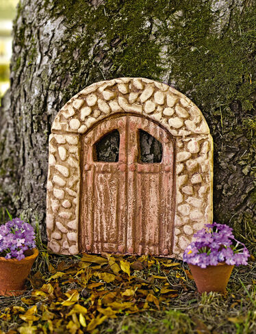 Fairy garden door mosswood miniature door for Miniature fairy garden doors