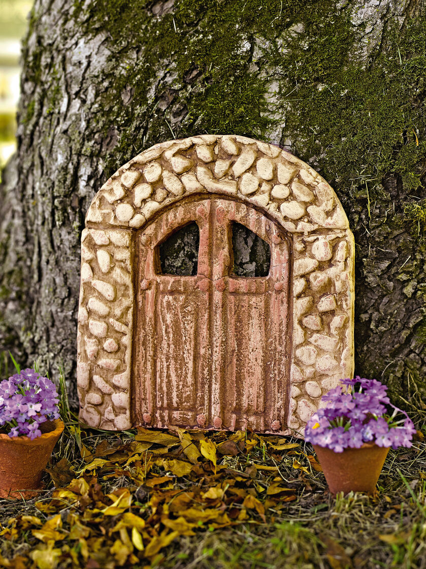 Fairy garden door mosswood miniature door for Outdoor fairy door