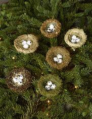 Bird Nest Ornaments, Set of 6