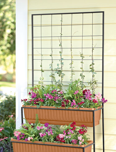 2-Tier Cascade Planter with Trellis, Terra Cotta