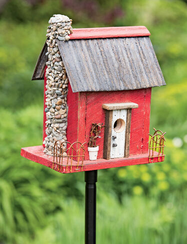 Wooden bird house red barn wood bird house - Old barn wood bird houses ...