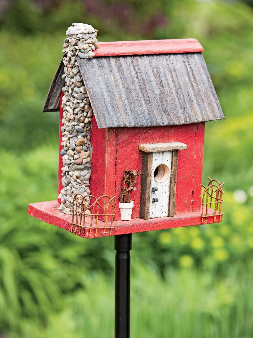 Wooden Bird House Red Barn Wood Bird House Gardeners Com
