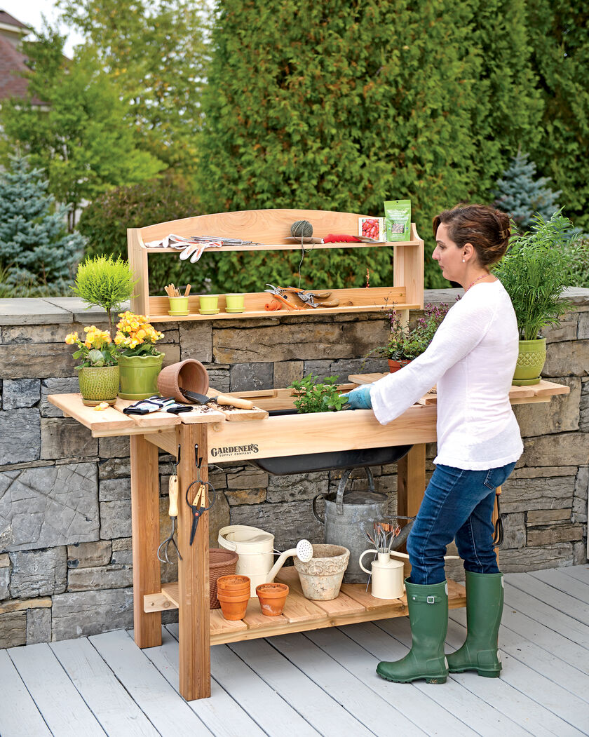 Potting Bench - Cedar Potting Table with Soil Sink and Shelves