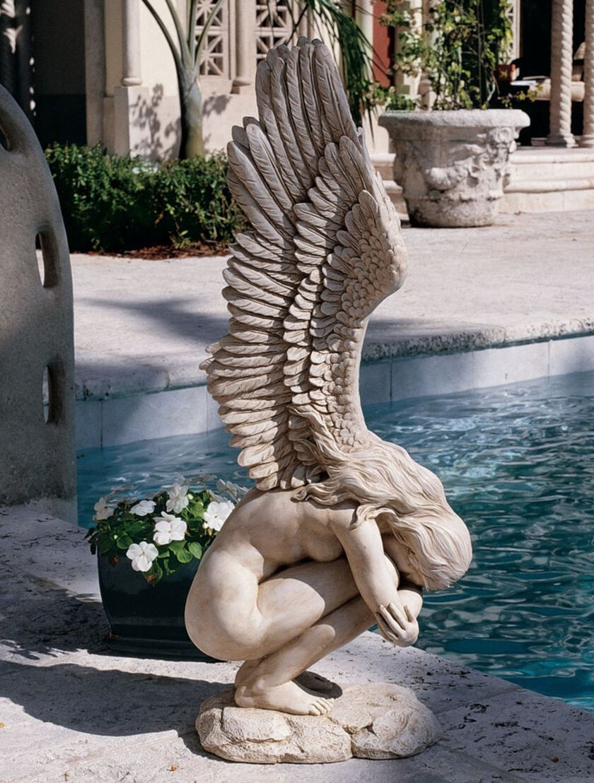 Crouching Angel Garden Statue Gardeners Supply