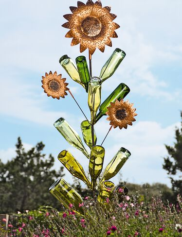 *39-509 Bottle Tree & Sunflower Set (bottles not included)