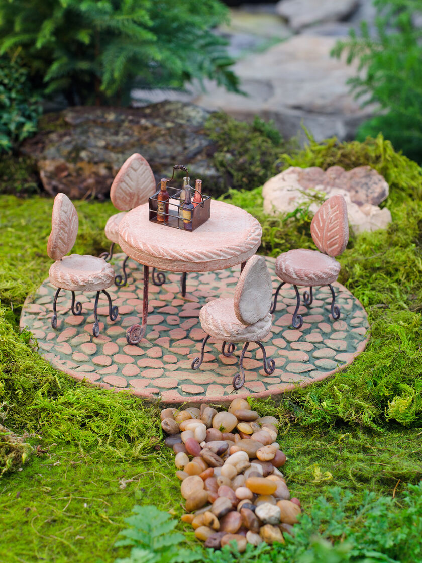 Fairy garden supplies fairy garden furniture patio set Small garden fairies