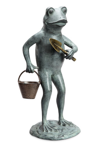 Frog with Garden Tools Statue