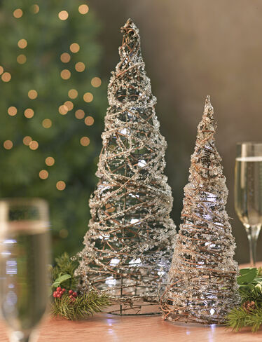 Frosted Vine Trees, Set of 2