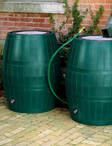 Two Deluxe Rain Barrels and Linking Kit