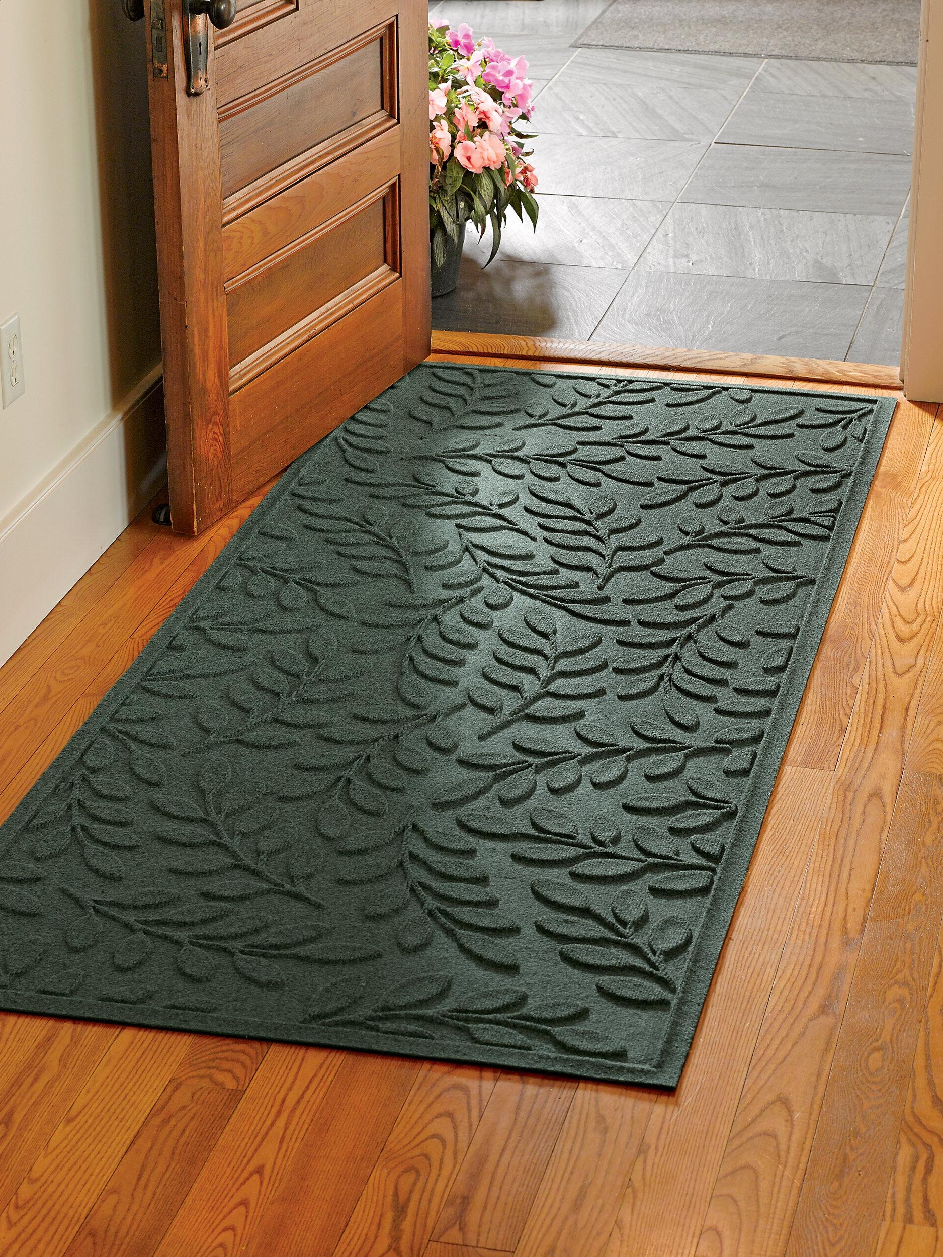 Rubber floor mats for house - Laurel Leaf Water Glutton Runner Mat 35 X