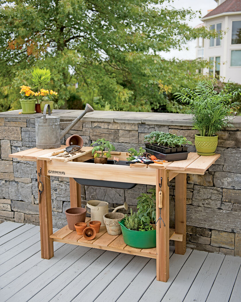 Potting Bench Cedar Potting Table with Soil Sink Gardenerscom