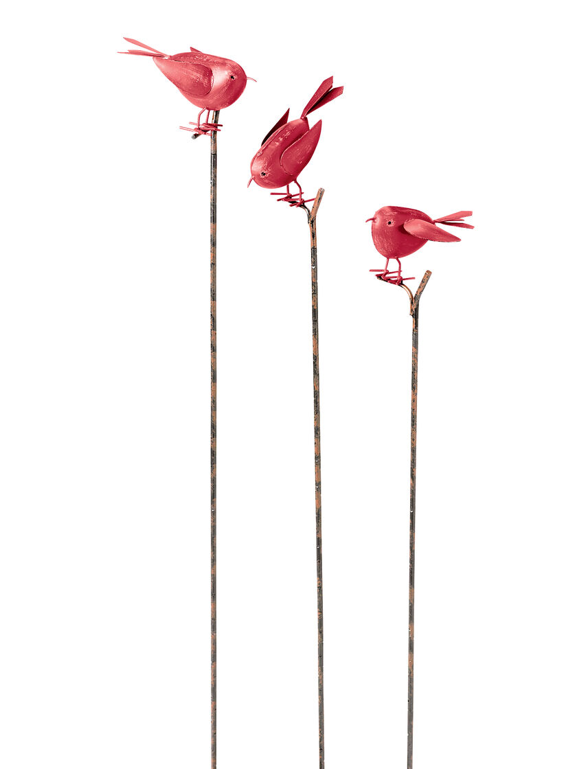 Metal garden art decorative songbird stakes for Decorative garden stakes