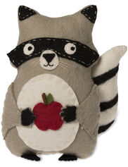 Raccoon Felted Wool Pillow